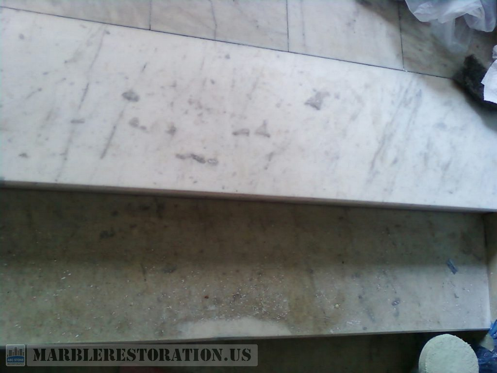 Cleaned and Dirty Marble Steps