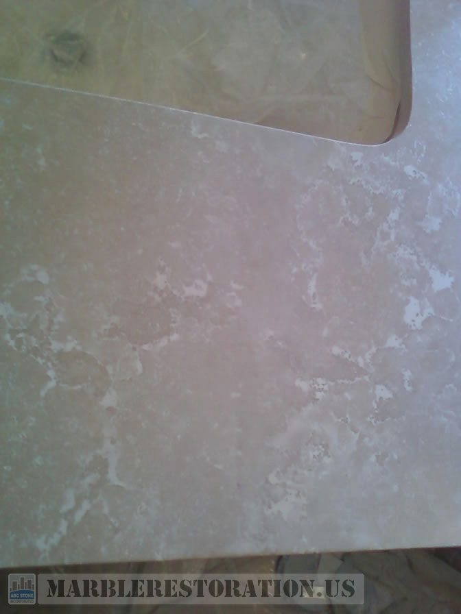 Fixed Seam on Botticino BathTub Top