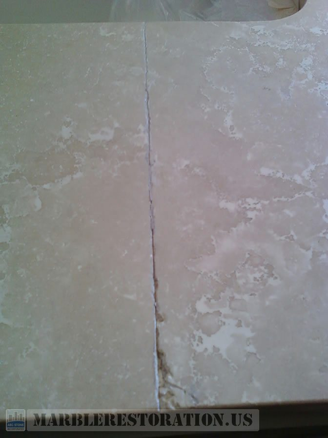 Botticino Bathtub Top Seam Repair