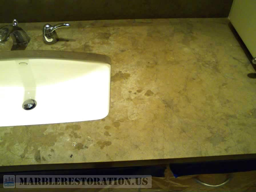 Etched Brown Limestone Vanity