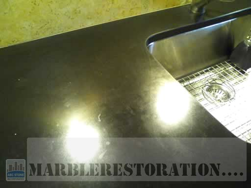 Black Absolute Granite Counter Top with Marks and Traces