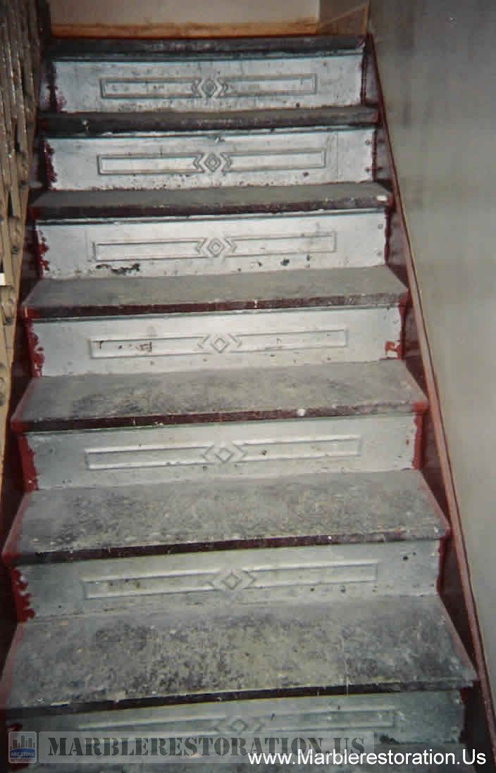 Painted and Dirty Marble Steps Before Replacment