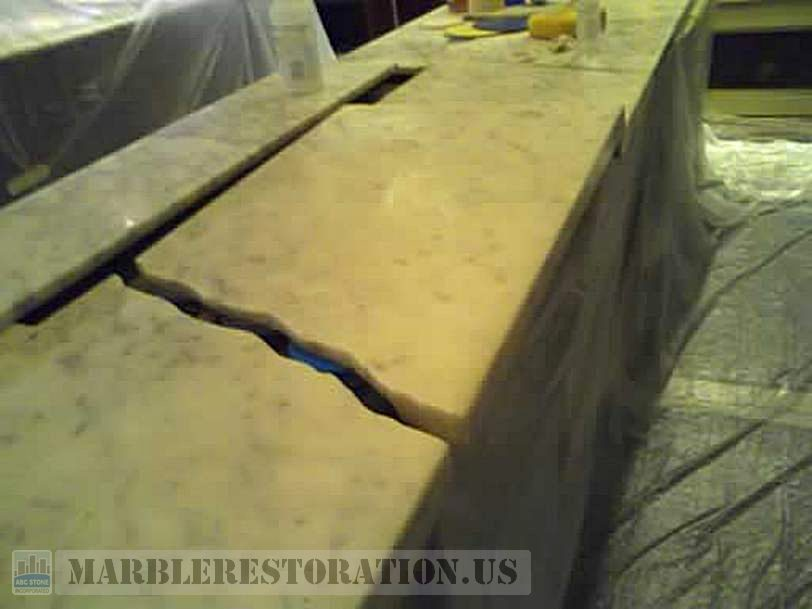 Dislodged Marble Countertrop in Retail Store