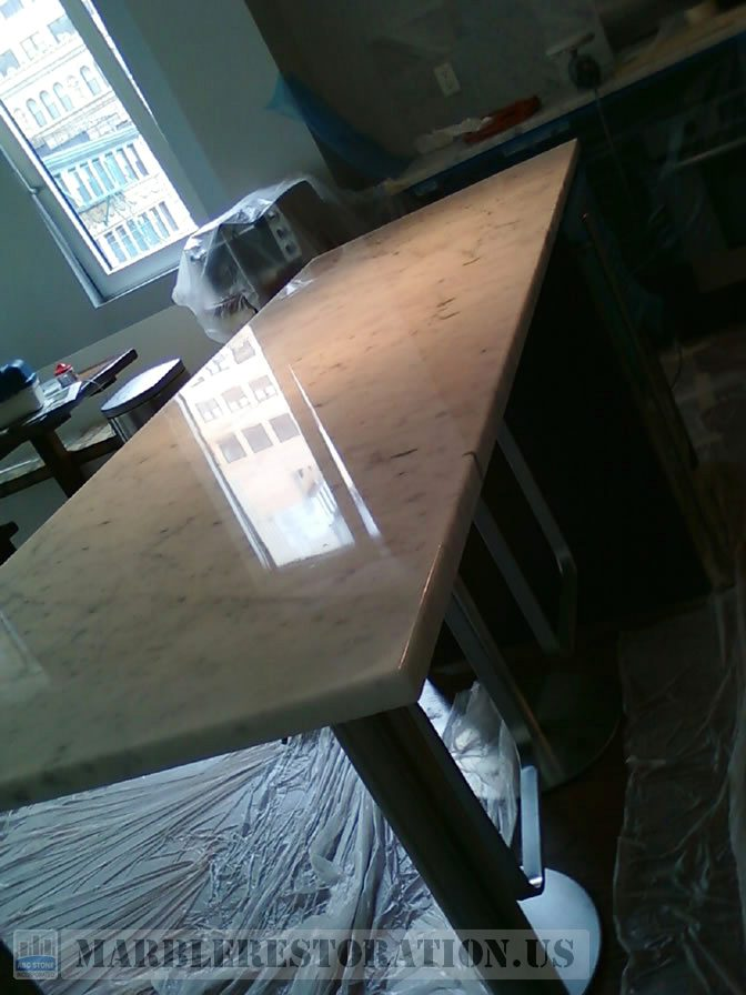 Etched Countertop After Restoration. Stone Repair Picture