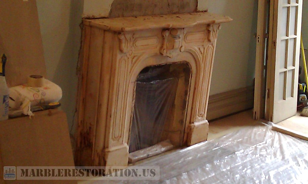 Dirty Marble Fireplace Before Restoration