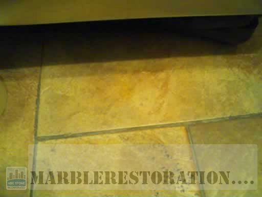 Deep Gouge in Floor Tile After Repair