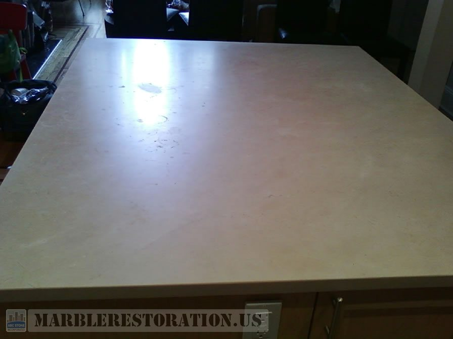 Kitchen Island Before. Stone Repair Picture