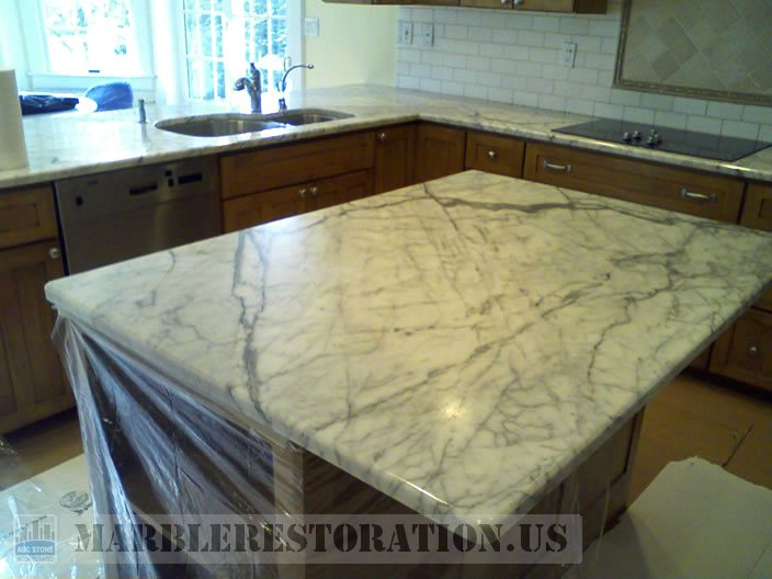 Dull marble benchtop restoration