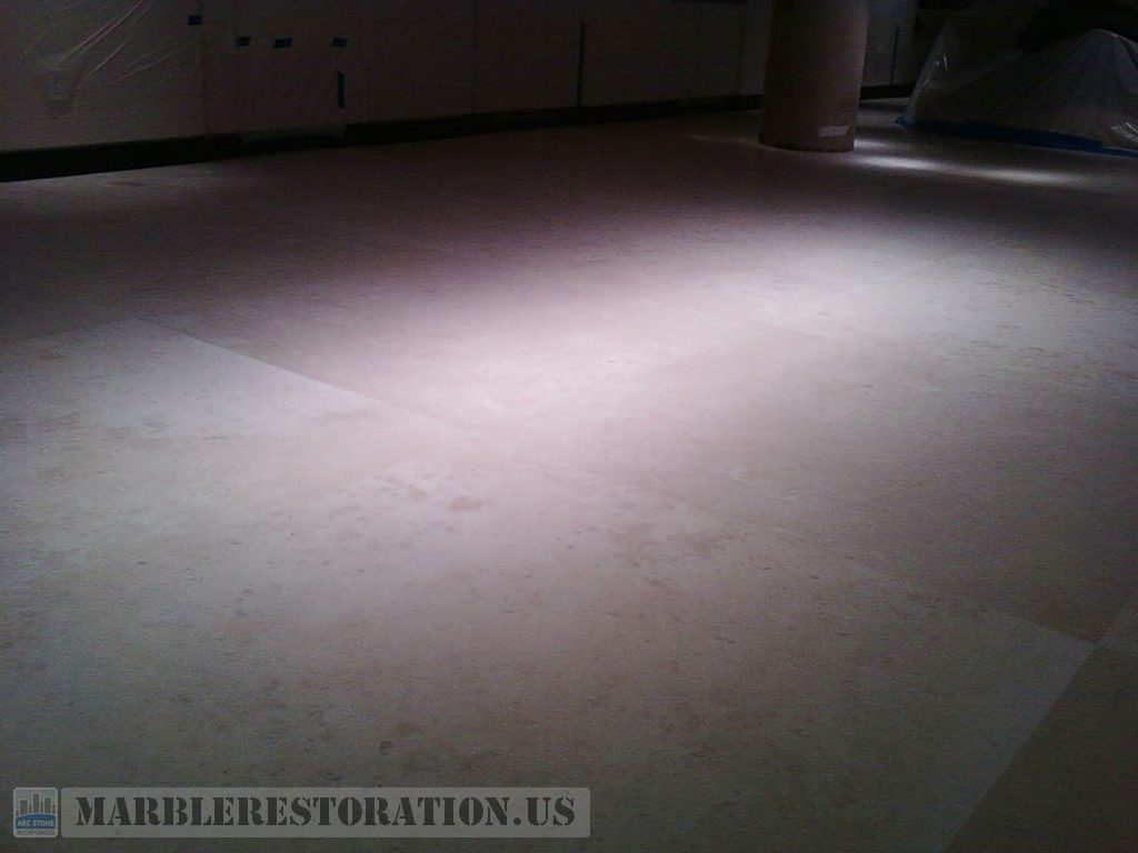 Limestone Floor. Honing and Cleaning