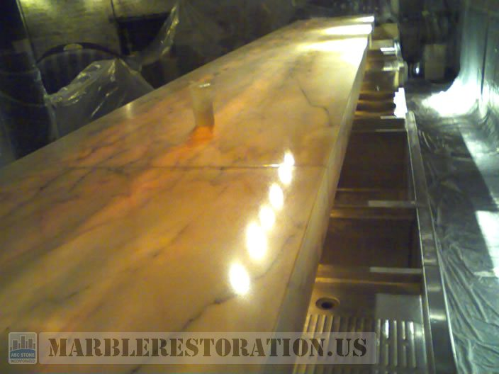 Marble Bar Top After. Image. Marble Restoration & Stone Care