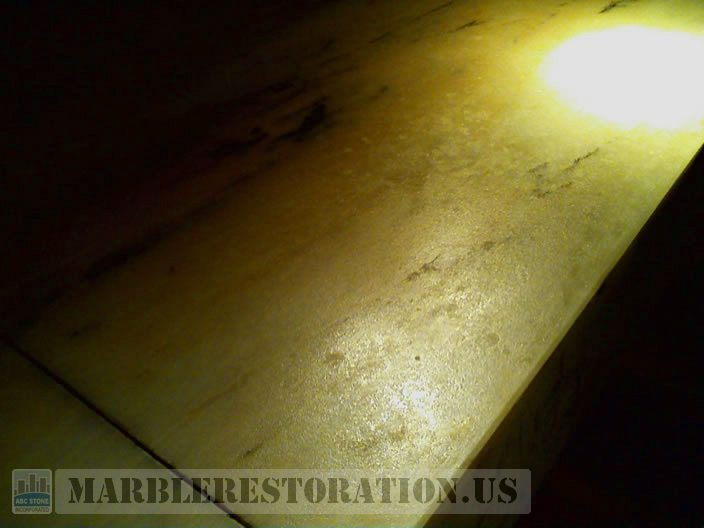 Marble Bar Top Before Repair. Image. Marble Restoration & Stone Care