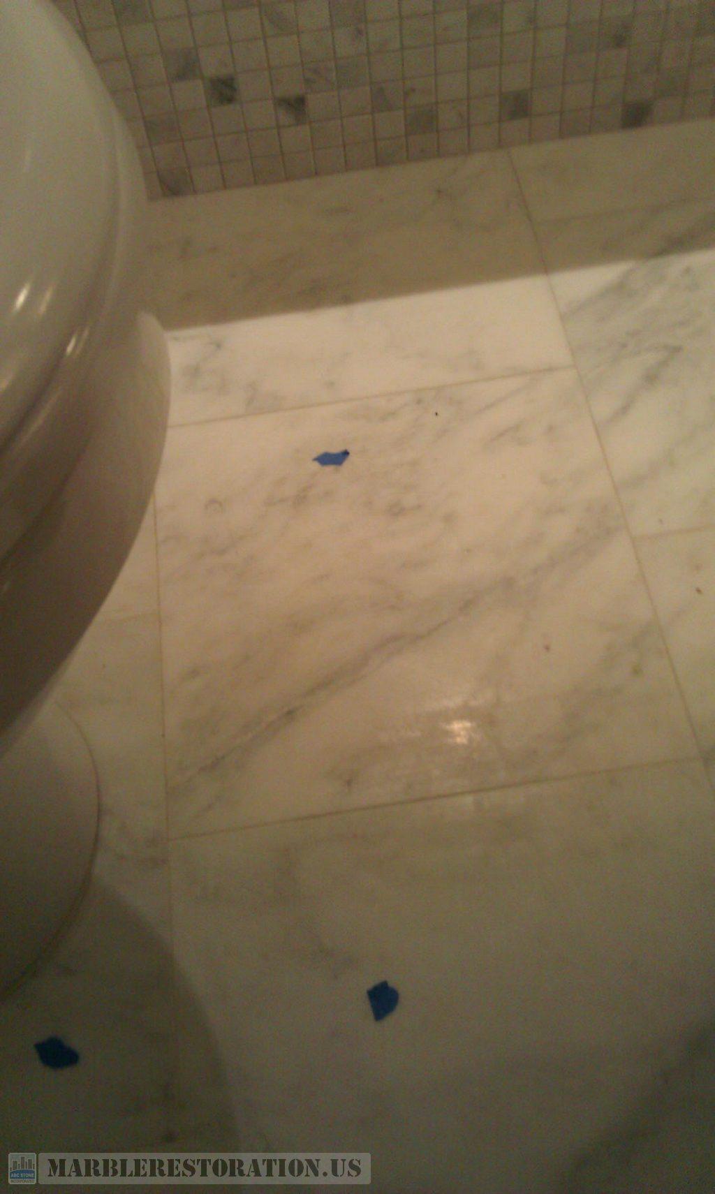 Etched Marble Bathroom Floor