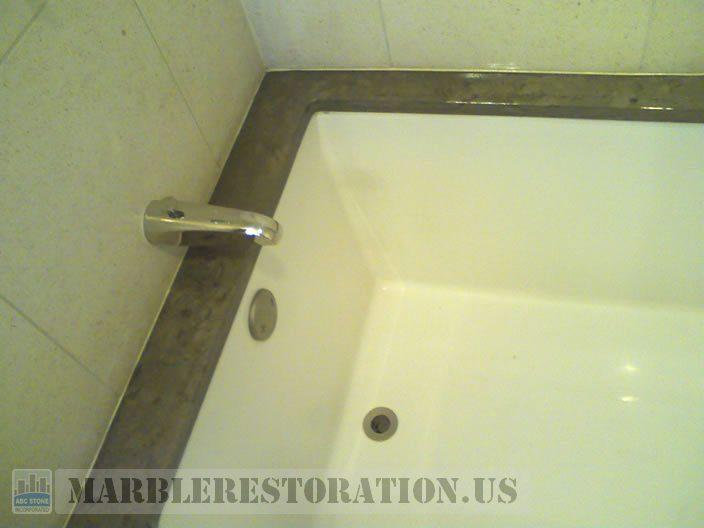 Limestone Bathtub Top Discoloration & Erosion Removal