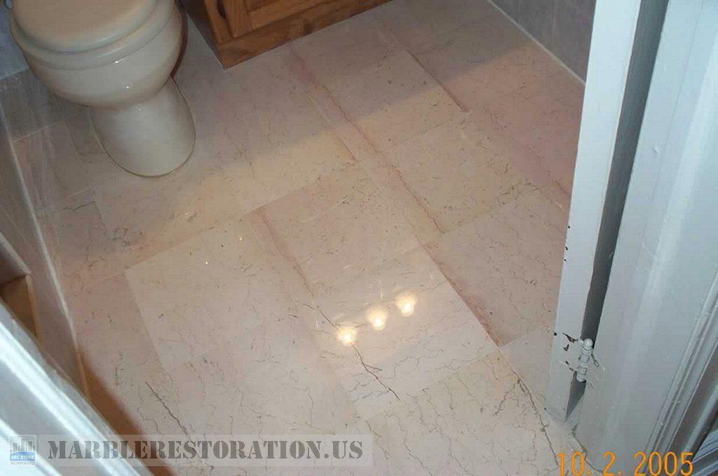 Botticino Marble Bathroom Cracks Fixed and Polished