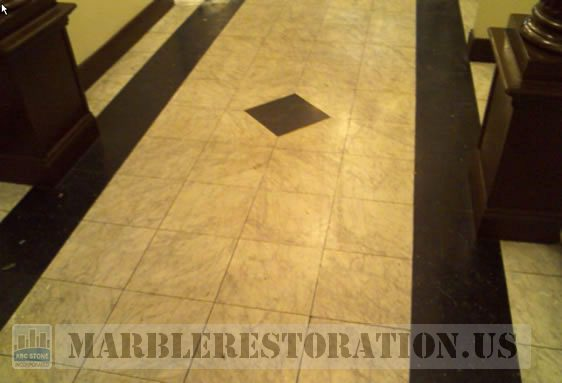 Marble Lobby Floor. Before Restoration
