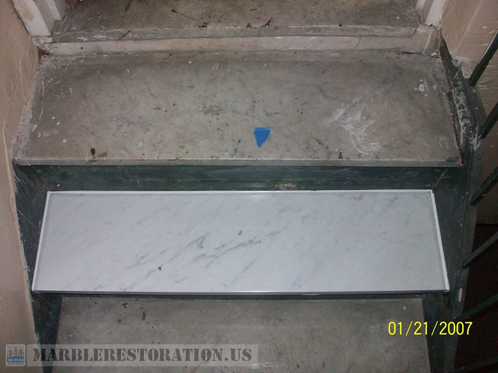 New Single Carrara Marble Step