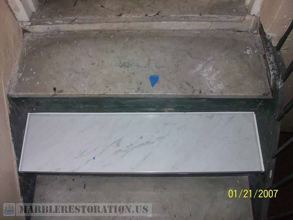 New Single Carrara Marble Step