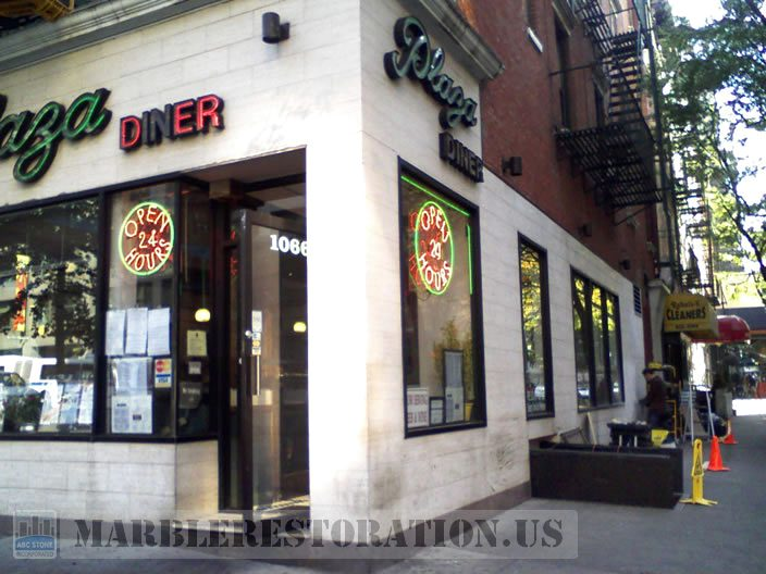 Marble Storefront Before Repair. Image. Marble Restoration & Stone Care