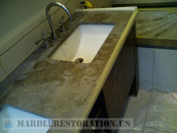 Etched and Dull Brown Limestone Vanity