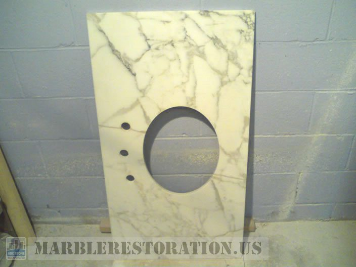 Calacatta Gold Marble Vanity after the Crack Repair