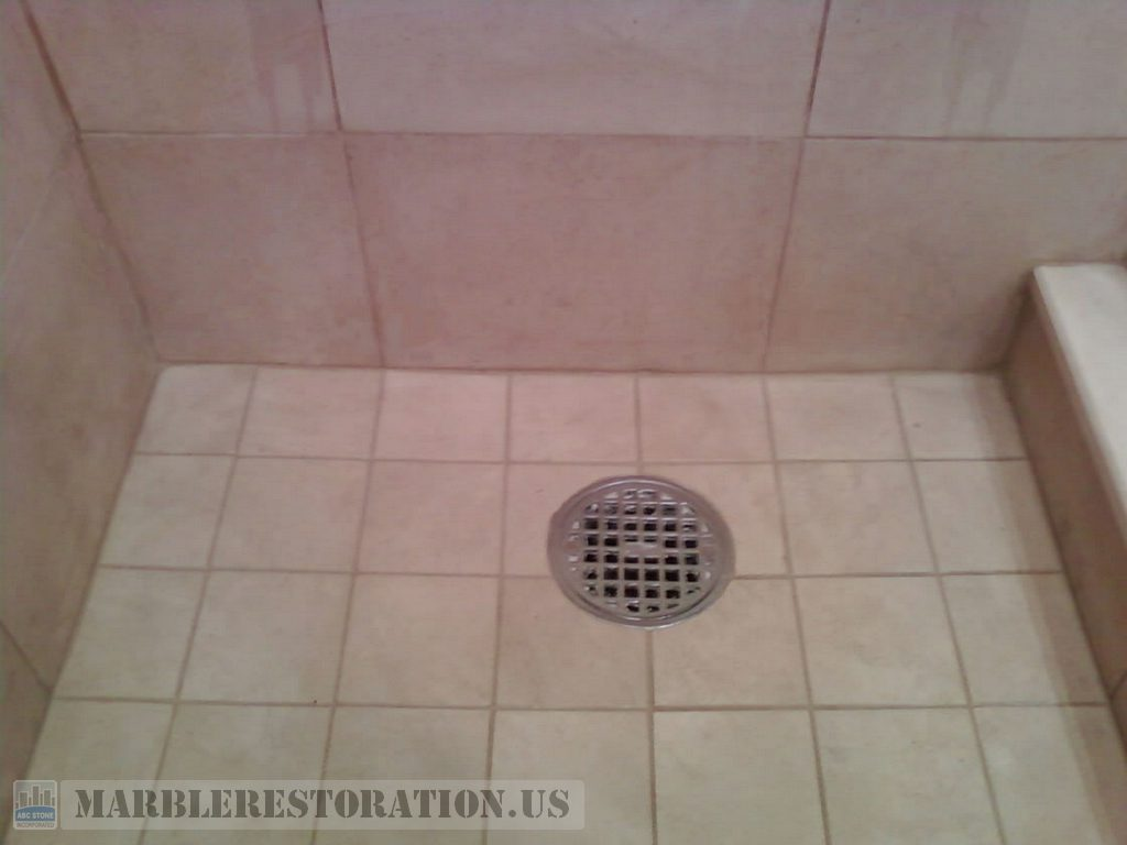 Molded Shower Floor After Restoration. Stone Repair Picture