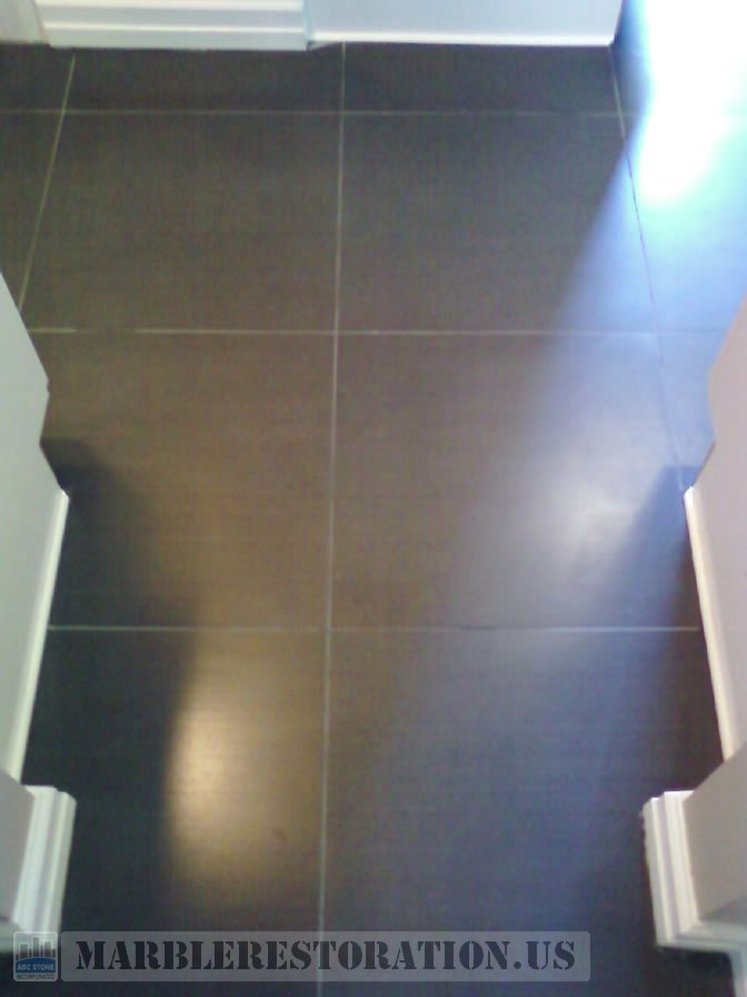 Etched Finish Removed from Porcelain Floor