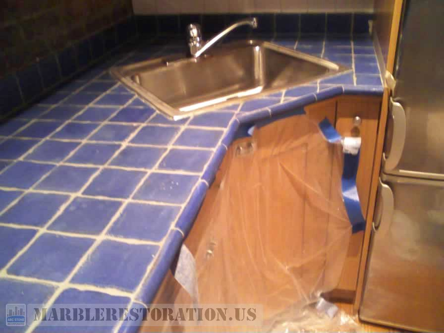 Tiled Countertop Regrouted