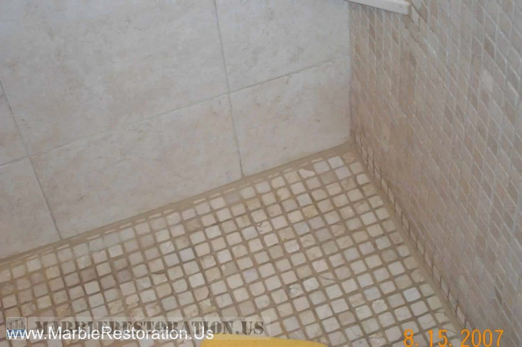 Shower Marble Floor. Cleaning