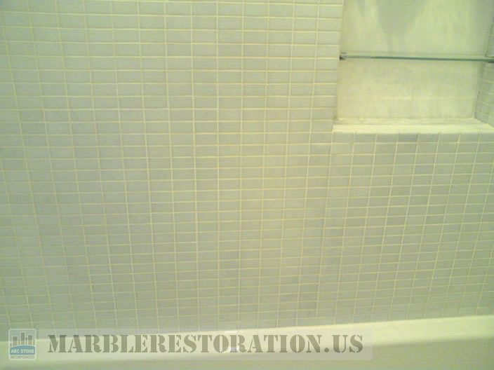 Shower Grout Refreshing on Mosaic Tiles