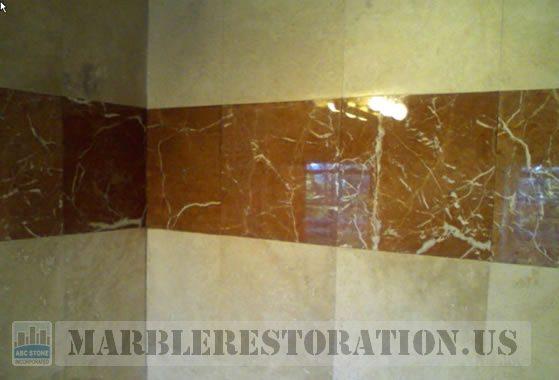Polished Reddish Tiles in Shower