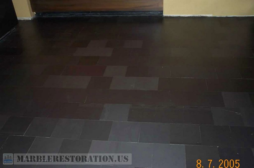Slate Stone Tiled Floor After Grinding And Honing