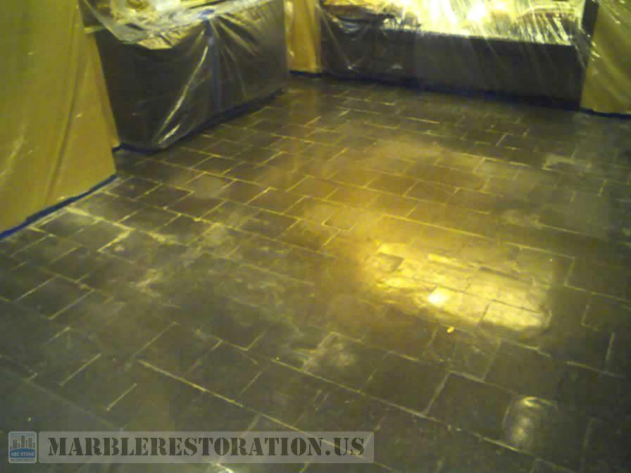 Slate Stone Floor. Before Grinding