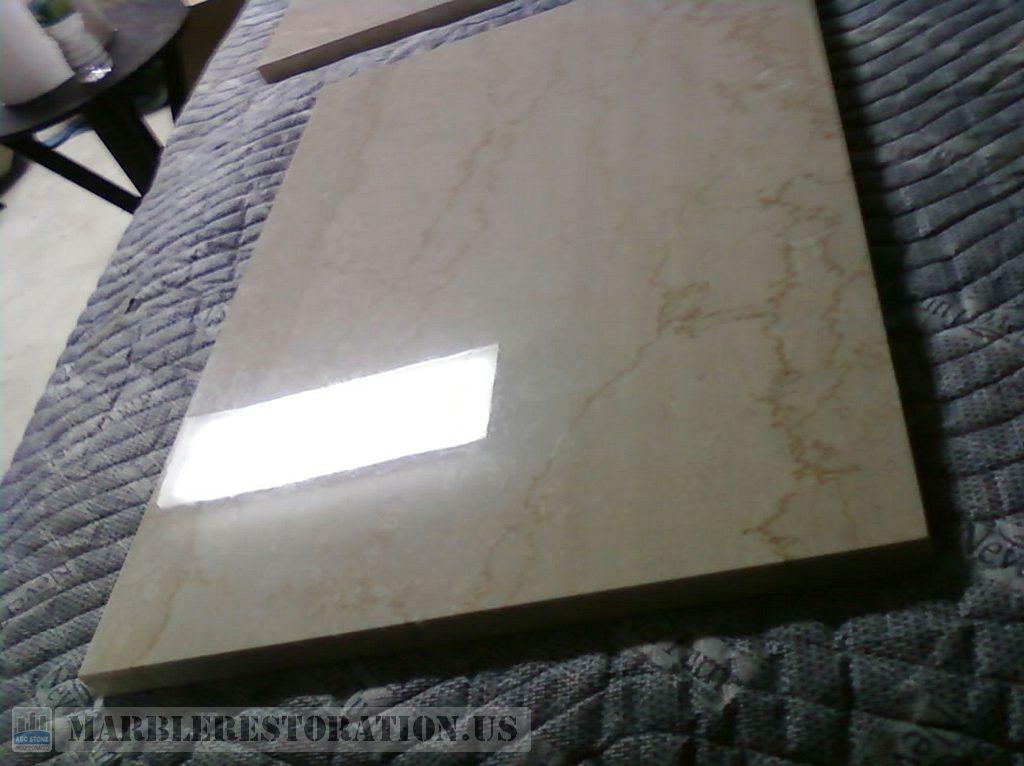Polished Square Piece. Botticino Marble