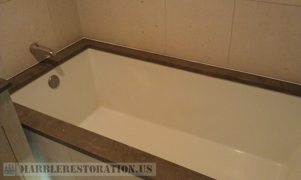 Restored Brown Limestone Bathtub Top