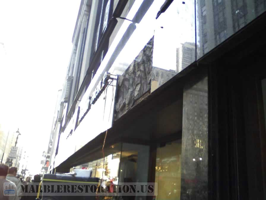 Granite panels removed from the store front