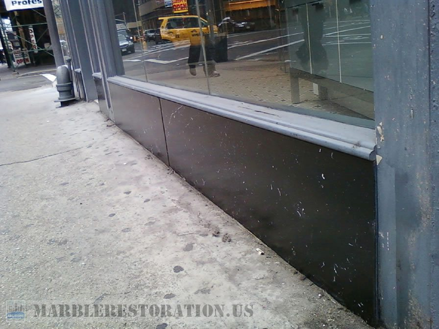 Store Panels After Restoration. Stone Repair Picture