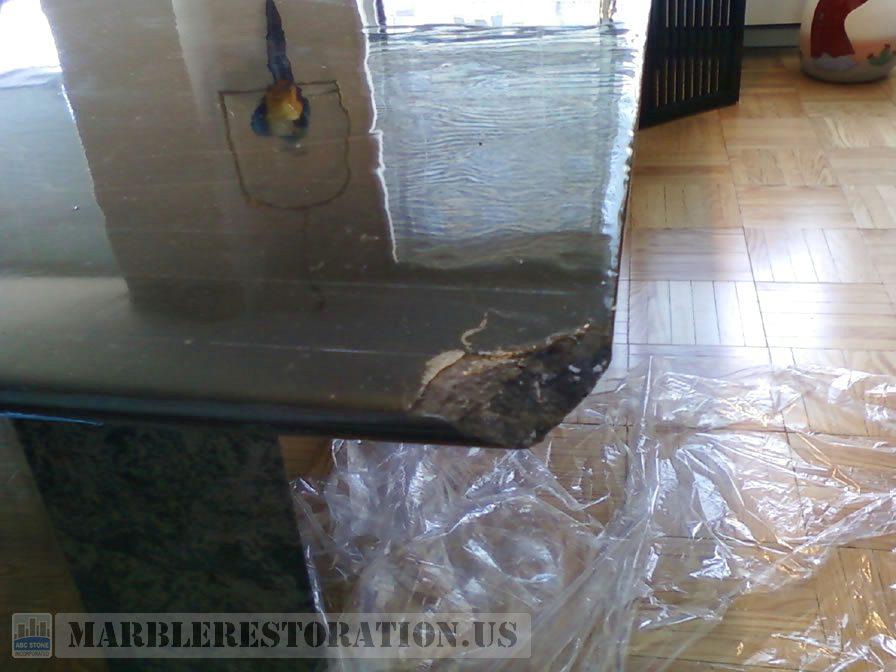 Transparent Coat Repair on Dinning Table Corner