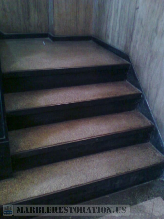 Terrazzo Steps Before. Stone Repair Picture