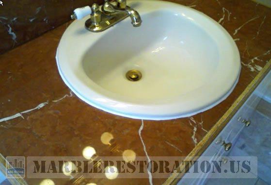 Tiled Vanity Top. Rojo Alicante Marble